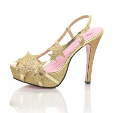 Sexy  Gouden glitter hak sterretjes schoenen