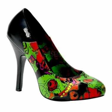 Sexy  Halloween Zombie pumps groene print schoenen