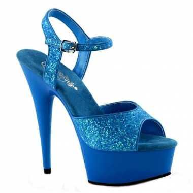 Sexy  Neon blauwe glitter sandalen Caydence schoenen