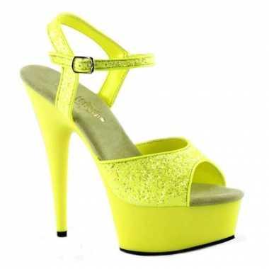 Sexy  Neon gele glitter sandalen Caydence schoenen