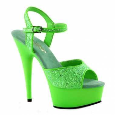 Sexy  Neon groene glitter sandalen Caydence schoenen
