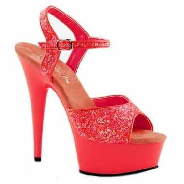 Sexy  Neon koraalroze glitter sandalen Caydence schoenen