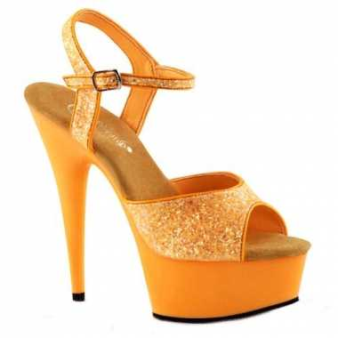 Sexy  Neon oranje glitter sandalen Caydence schoenen