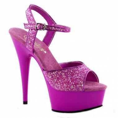 Sexy  Neon paarse glitter sandalen Caydence schoenen