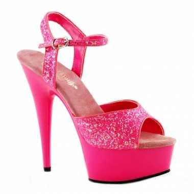 Sexy  Neon roze glitter sandalen Caydence schoenen