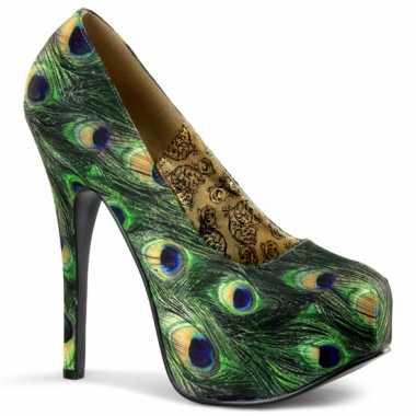 Sexy  Pauwen print plateau pumps schoenen