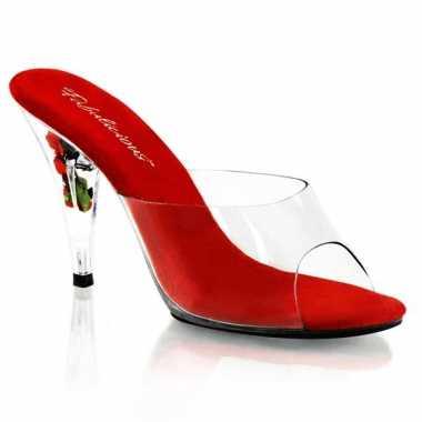 Sexy  Rode instap pumps Belle bloemetjes hak schoenen