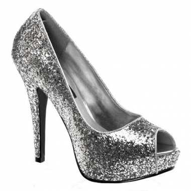 Sexy  Zilveren glitter peep toe pumps schoenen